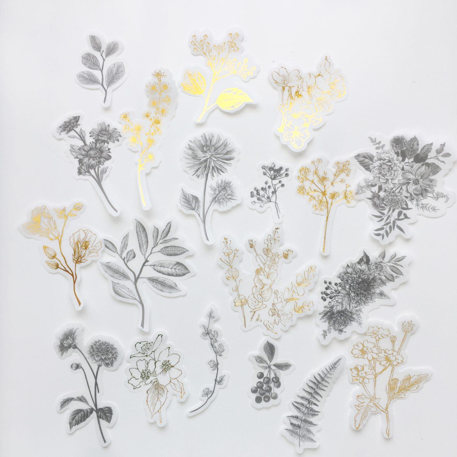 Flora sticker set - Goud en Zwart - Bloemen