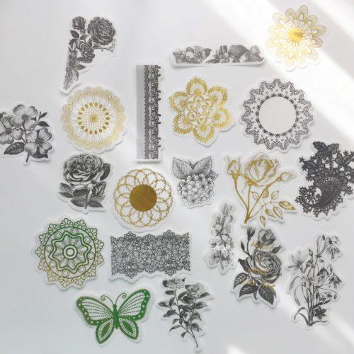 Sticker set - Goud en Zwart - Bloemen - Vlinder - Mandala