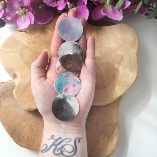 Maanfasen - gekleurd - 45 stickerset - inclusief edelsteentjes