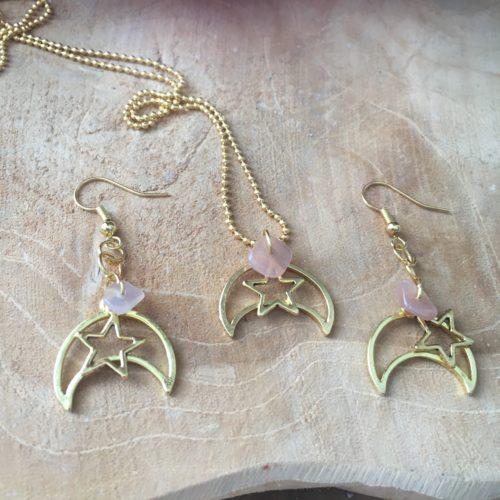 Ketting en oorbellen Golden Moon - Star - Zonnesteen