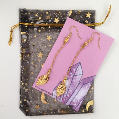 Gold plated leave earring
